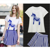 New 2014 women clothing t-shirt summer fashion small fresh stripe bust casual set female 2 sets
