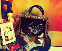 Women Bags New 2014 Women's Fashion Sequins  Handbag Vintage Leopard Print Shoulder Bags Designer Handbags  Messenger Bag