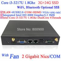 thin client windows mini computers with fan Intel i3-3217U 1.8Ghz CPU NM70 chip 3G card slot 2 RJ45 HDMI VGA COM 2G RAM 24G SSD