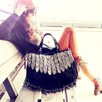 Hot Sale 2015 Winter Fashionable Vintage Bags Leopard Women Messenger Bags Tassels Rivet Designer Handbags High Quality
