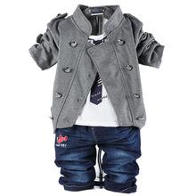 2014 spring autumn cotton denim newborn boys set double breasted coat+t shirt+jeans 3pcs toddler boys suits(China (Mainland))