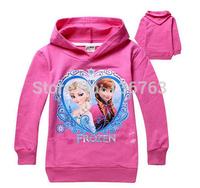 free shipping girl girls Frozen Terry jacket hoodies princess Elsa Anna hoody coat long sleeve sweatshirts pink 6 pcs/lot