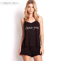 Spring and summer women's letter print spaghetti strap top shorts twinset lounge set