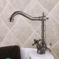 "2014 New Design Vintage Brass 9"" Kitchen Sink Faucet Mixer Tap Dual Cross Handles Swivel Spout MK3306A"