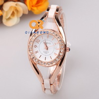 2014 Ladies Quartz bangles Watches Women hollow dress Rhinestone Analog wrist watches Casual Elegant popular watch FC107-F253#