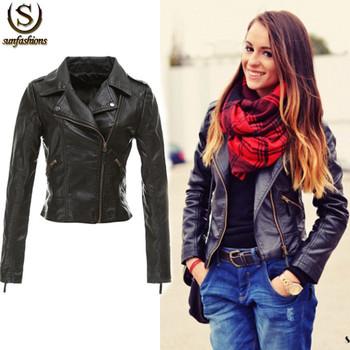 2014 Женщины Brand Jaqueta De Couro FeМиниna Черный Молния Slim Crop Motorcycle ...
