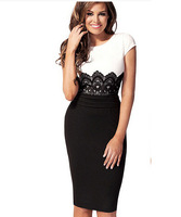 Free Shipping 2014 New Fashion Womens Empire Vintage Crochet Lace Square neck Bodycon Fitted Shift Party Pencil Dress LBR6366