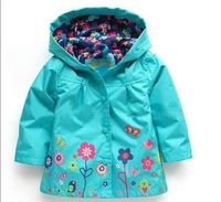 2014 new baby girls outwear jacket for autumn spring kids brand flower coat hoody children custom clothes T151