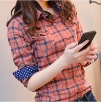 2014 autumn spring new cotton women plaid blouses slim fit Female long sleeve check shirt blusas xadrez