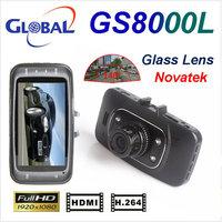 Car DVR GS8000 car Recorder  Novatek chipest 1920*1080P  140 degree 25fps Night Vision  DVR Free shipping