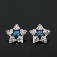 Blue Zircon Rhinestone 14K Gold Plated Stud Earrings Star Design Jewelry For Women Square Design 2014 New V061171E