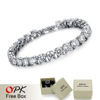 OPK JEWELRY AAA Cubic Zirconia 0.75ct Swiss CZ Diamond Tennis Bracelet Elegant Style Gift for Wedding/ Engagement/ Birthday, 928