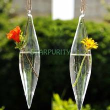 Transparent Long Fusiform Sharp Shuttle Hanging Glass Plant Flower Vase Hydroponic Container Pot Home Wedding Decor(China (Mainland))