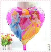 New arrival 10 pcs/lot Three princess helium balloon for happy birthday decoration princess mylar balloons