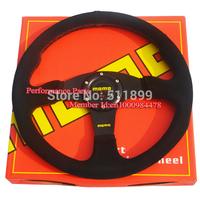 Flat Styel 350mm MOMO Steering Wheel Universal Racing Car Steering Wheel(suede leather material)