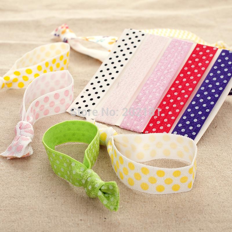 lot 100pcs dots printed Goody Ouchless Ribbon Elastics Hair Bands ponytail holders Emi Jay Like Elastic Yoga Hair Ties(China (Mainland))