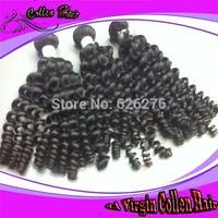 Free shipping 6A Virgin Collen hair products Mixed length 4pcs lot 2pcs 3pcs 5pcs lot Brazilian remi 1b weave Sprial Curl