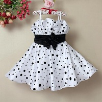 Retail 2014 new sleeveless  Children Girl Infant Dress dot Bow baby Girl Formal Party Dress kids Clothing Girls Princess Dress