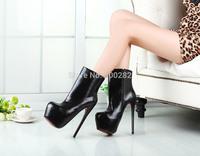 Free shipping spring/Autumn sexy brand 19cm thin ultra high heels martin boots red bottom platform women's pumps Big size:41-46