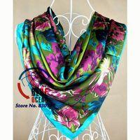 2014New Style Female Satin  Big Square Silk Scarf Printed,Hot Sale Women Grey Purple  Silk Scarf Wraps For Summer,Autumn 90*90cm