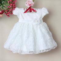 Free shipping Children Girl Dress Bow flower rose Girl Formal Party Dress kids Clothing 1-4years