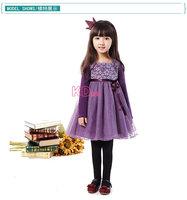 high quality 2014 autumn winter knit long-sleeved lace dress tutu princess-old girl gauze dress  DJ 88