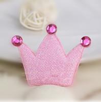 Wholesale   Pink  princess  crown Applique Patch DIY hair accesy 4.5x6cm