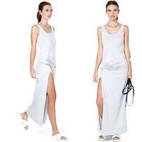 2014 NEW ARRIVAL Free Shipping Women Summer Light Gray Cotton Irregular Long Dress Casual Dress Sleeveless Dress