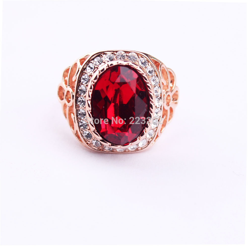 Free Epacket box-packet 100% service retail rose gold plated big red Austrila crystal high fashion rings for women/men WNR833(China (Mainland))