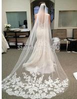2014 New White 3 meters Long Lace Applique Tulle Bridal Wedding Veils Long Lace veu de noiva hot wedding accessories