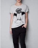 2014  Popular style Women Fashion Cute Dog Pug Devil Black Wing Short Sleeve T Shirt Grey     #C0820