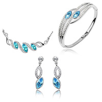 2014 new design crystal necklace earrings and bracelet jewelry set for women