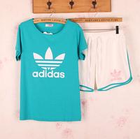 Free shipping 100%  cotton Pajamas summer short-sleeve cotton shorts Women sleepwear lounge set Pajama Sets multi-colors