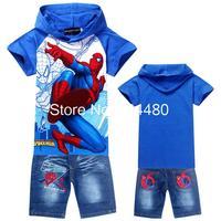 Retail Hoodies Spiderman Children's Sports Suit Summer Kids Baby Cartoon Clothing Sets Short Sleeve T-shirt+jeans Summer