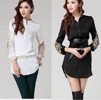 New Women Long  Blouse Shirts for Women V Neck Shirt Embroidery Womens Full Sleeve  Black / White Long Shirts( not include Belt)