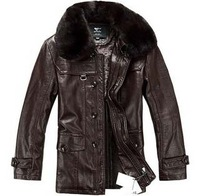 low price leather jacket with plus size,free shipping men's classics real leather jacket , 2014 new fashion men's coat ,210