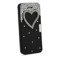 Bling Diamond Heart Black Hard Protector Case Cover Skin for Apple Iphone 5 5S