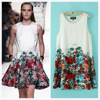 2014 New Summer Cotton Blend Chiffon Sleeveless O-neck Tank Empire Flower Print Womens Loose Ball Grown Mini Dress White