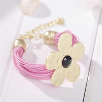 Min. order is 9usd(can mix) Korean fashion hand-woven rope fresh flowers female casual leather strap bracelet retro SL225