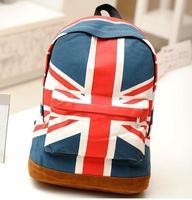 New 2014 Casual Women's Flag Design Canvas Bags Backpacks Printing School Backpacks Travel Shoulder Bag/Mochila/Free Shipping B