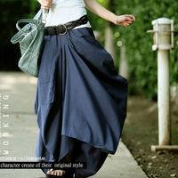 Skirt 2015 Saias Femininas Solid Skirts Womens Original design long skirt Big pocket Casual Linen skirt saia longa Maxi Skirt