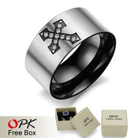 OPK JEWELRY Fashion New Personality Titanium Steel Men Punk Ring Black Cross Ring Cool Style Party Accessories, 402