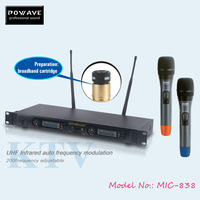 POWAVE SOUND SYSTEM microphone MIC-838 wireless microphone can connect to a microphone stand