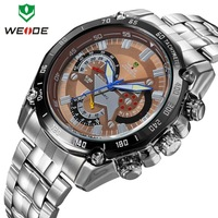 Men full steel watchluxury brand WEIDE luminous analog quartz watch 30m waterproof male clock fashion 2014 design