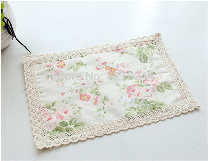 Free shipping New 20x30CM ikea dinner Tea placemats Mix Design Handmade Flower Lace cotton Linen fabric Doilies cup mat mug pad(China (Mainland))