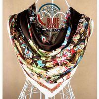 Free Shipping Hot Sale Pattern Fashion Accessories Satin Big Square Women Scarf Printed,New Design Coffee Silk Shawl 90*90cm