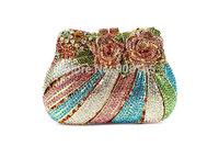 free shipping 6 colors 2014 new flower fashion women evening bags crystal women clutch bags B5056