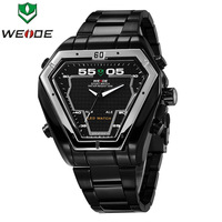 WEIDE MILITARY WATCH Dual Time illuminated LED digital Analog Men multi-Purpose Quartz Wristwatch,Stainless Steel,3ATM