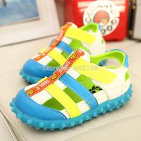 Free shipping 2014 new Korean children's summer PU boys girls unisex shoes tendon sandals flat with kids clogs c3-594 g