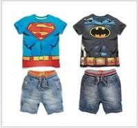 Retail New 2014 Children Sport Casual Superman Batman Short-sleeved T-shirt+ Denim shorts 2pcs Boys Clothing Set Free Shipping